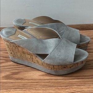 DVF platform wedge sandals.
